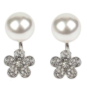 Double sided crystal pave flower and pearl U-Cup Earrings 633E-0711