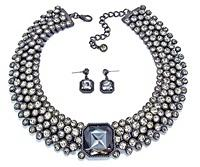Bezel Crystals Choker Necklace