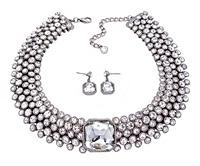 Bezel Crystals Choker Necklace - RHODIUM