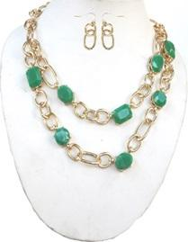 Faceted Acrylic Linked Chain Necklace