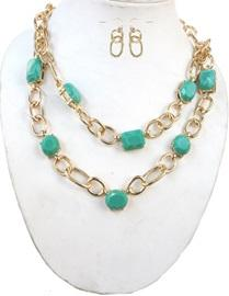 Faceted Acrylic Linked Chain Necklace-Mint