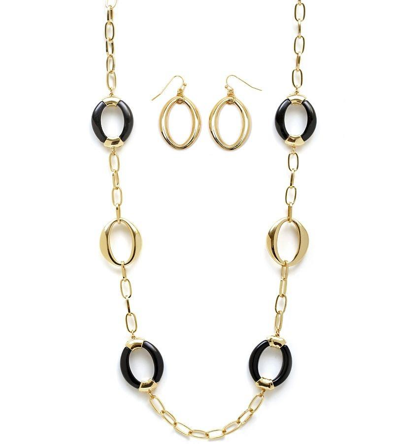 ROUND ACRYLIC AND GOLD EARRING AND NECKLACE SET - White/Black