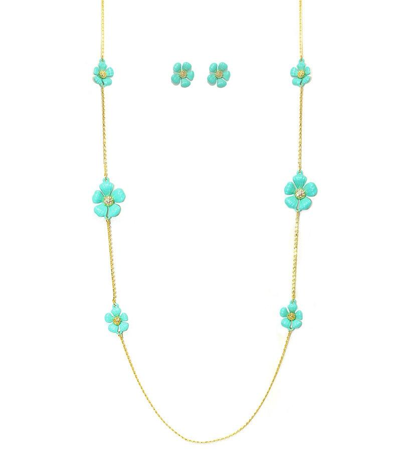 Turquoise Enamel And Crystal Necklace - Turquoise