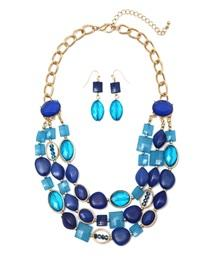 Opeque Acrylic Necklace And Earrings Set-Blue