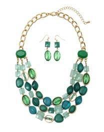 Opeque Acrylic Necklace And Earrings Set