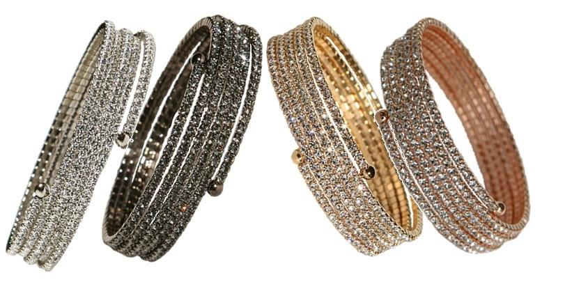 5 ROWS OF 2MM GENUINE FINE CZECH CRYSTALS ELASTIC COIL BANGLE. SKU:637B0514