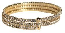 Czech Crystals Open Ends Electroplated Spiral Bangle - Gold