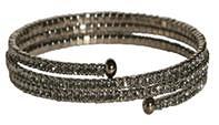 3 ROWS OF 2MM GENUINE FINE CZECH CRYSTALS ELASTIC COIL BANGLE. ONE SIZE FITS ALL.