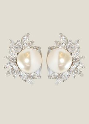12MM White Shell Mop Pearls Zirconite Set Earrings
