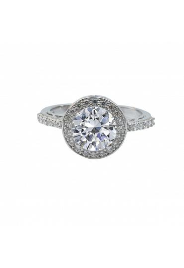 2 CT round Zirconite cubic zirconia Halo ring