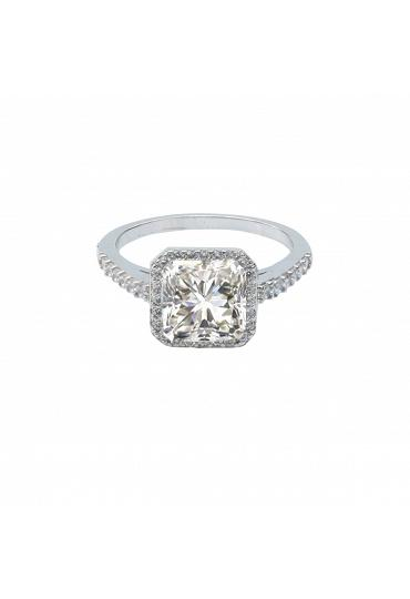 2 CT cushion square Zirconite cubic zirconia Halo ring