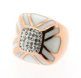 Stainless Steel with Rose Gold Ring - Clear