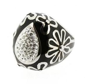 Stainless Steel Pear Shaped Ring - Clear and Black