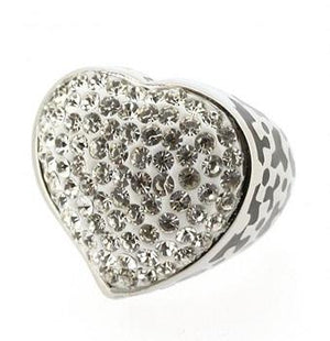 Heart Shaped Jeweled Crystals Ring - Clear