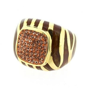 Gold Electro-Plate Crystals Ring - Rose Gold