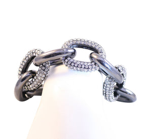 Polished and pave chain link gunmetal bracelet