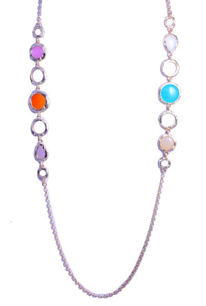 Brushed satin gold necklace with round multi color stone stations 652N-TNR13