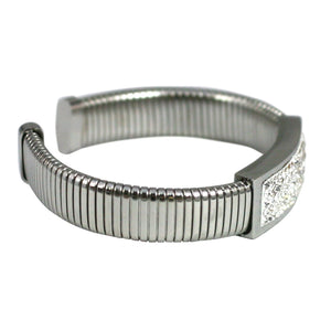 Multirow Bracelet with Paved Crystal Bar Stainless Steel
