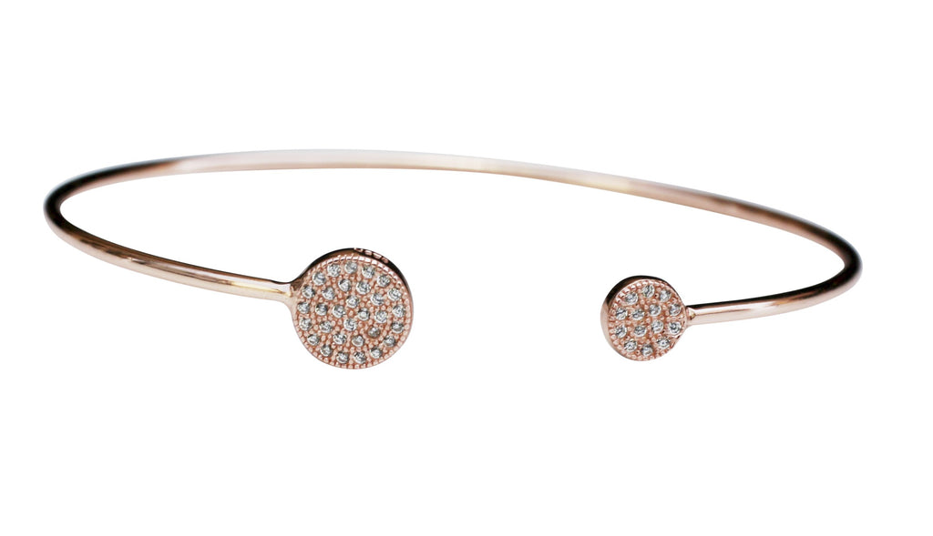 Fine High polished Sterling silver wire open Ends Bracelet Bangle Pave set