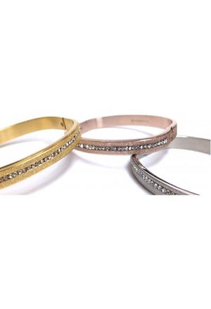 Rounded Corners Stainless Steel Center Hinged Bangle - In Three Colors