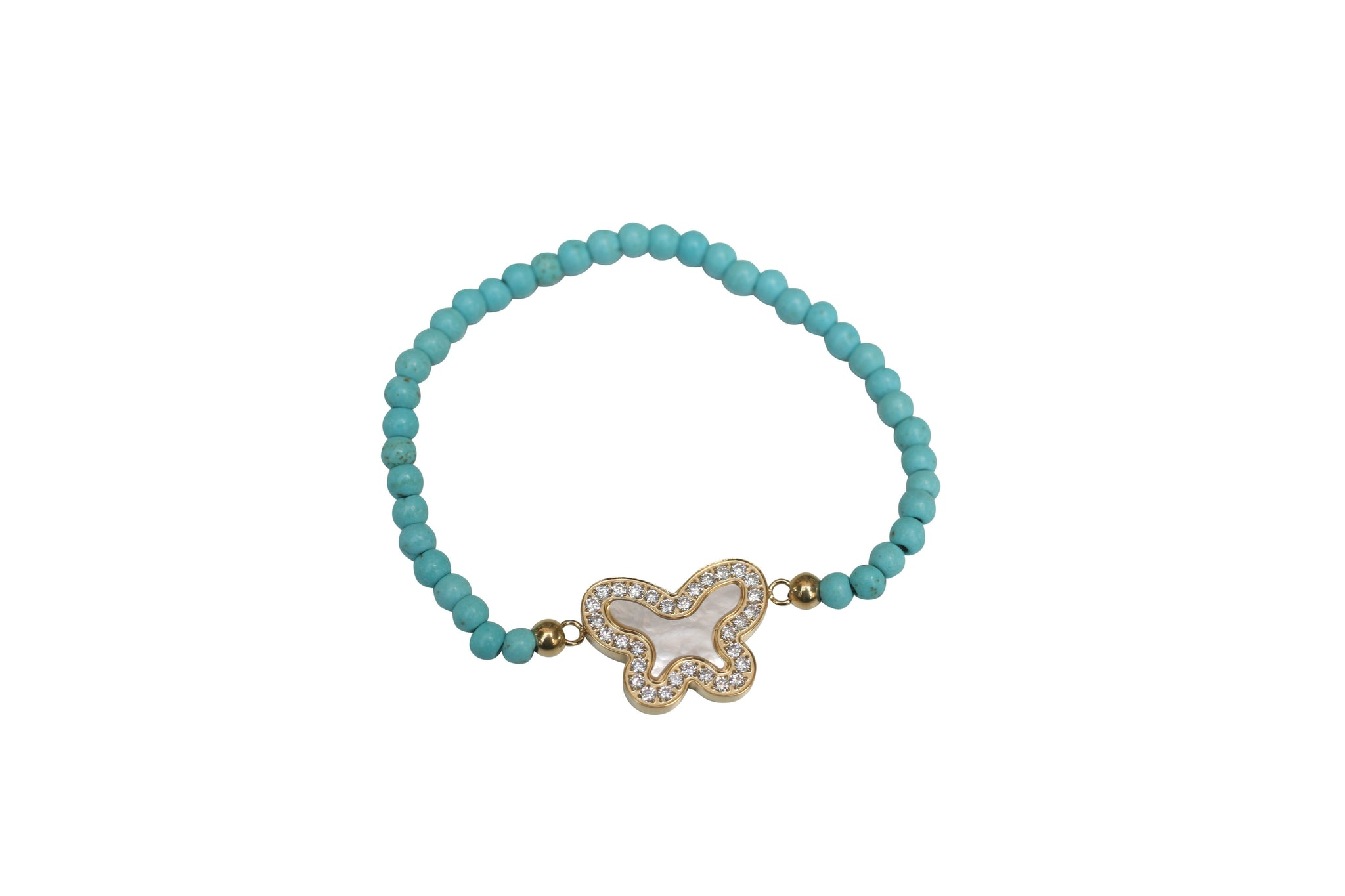 Mother of Pearl Butterfly charm Stretch Bracelet