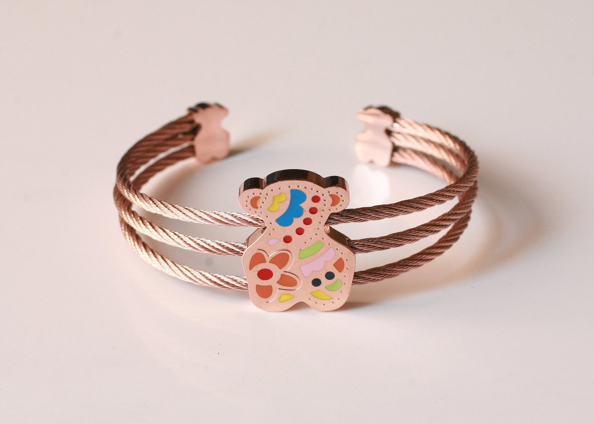 Stainless Steel enamel touched teddy bear open bangle
