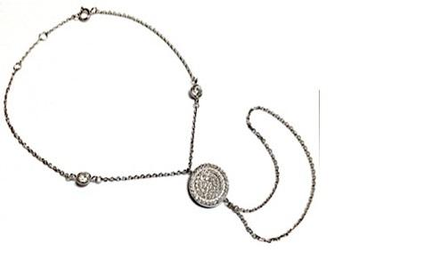 Caggie's Sterling Silver Slave Bracelet set w/Zirconite Cubic zirconia Round Center Pave and 2-Stations chain. 655B70240
