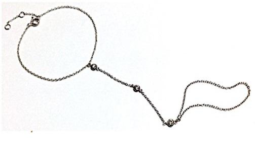 Caggie's Sterling Silver Slave Bracelet set w/Zirconite Cubic zirconia 3-Stations on chain 655B70245