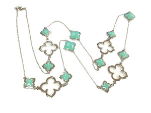 36'' opulent multi station cascading necklace with enamel