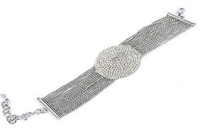 Embedded Dome Bracelet-Rhodium