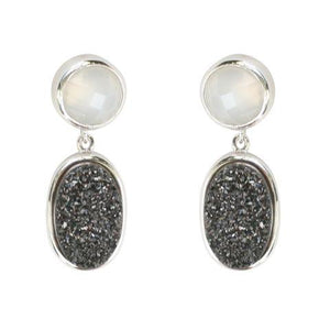 Bezel Setting Drop Earring-White/Black