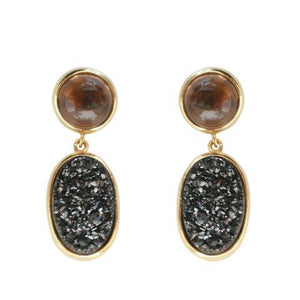 Bezel Setting Drop Earring