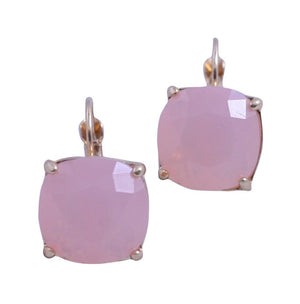 Leverback cushion square dangle earrings in fun opaque pastel colors 661E810