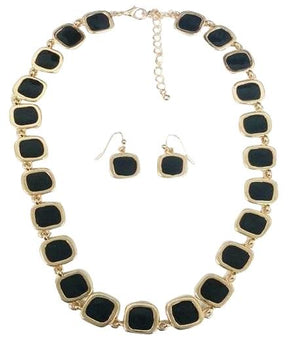 Gold Electroplated Earring And Necklace Set - Black