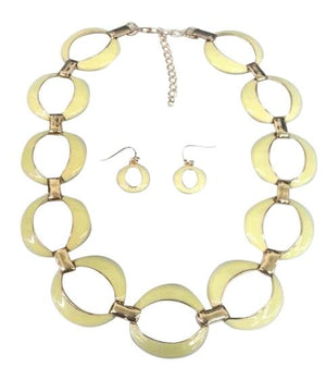 Gold Link Electroplated Earrring And Necklace Set - Yellow