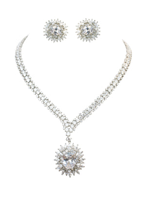 Couture large Oval center drop w/all around double row Zirconite Necklace