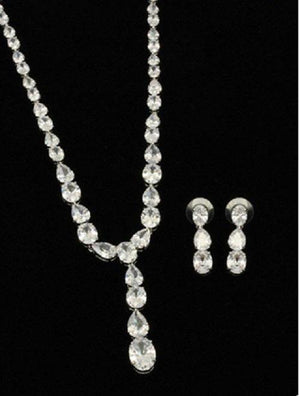 Oval Around Cubic Zirconia Set Rhodium Necklace