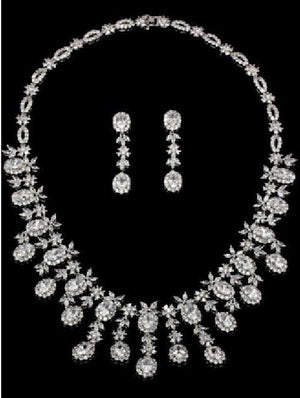 Around Cubic Zirconia Set Rhodium Necklace