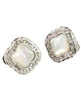 Cabochon Clover Cut Center And Zirconite Earring - Opeque Moonstone