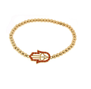 3MM Gold Bead Bracelet with Outline