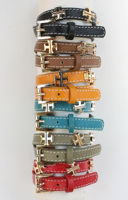 Square Cross Double Wrap Leather Bracelet