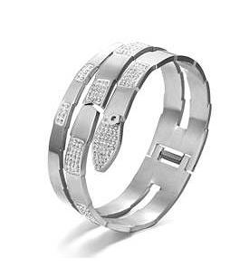 Stainless steel hinged wrap snake bangle paved with high quality crystals stations. SKU:677B100