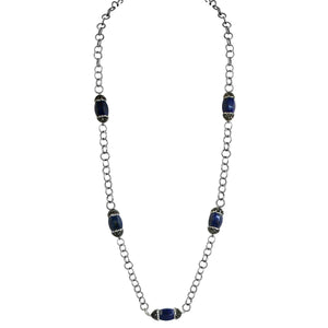 Boho with a Modern Twist 5 Stations Double Jeweled dark blue Agate Necklace 677N696X5D4375