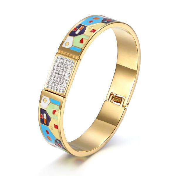 Classic Stainless Steel Hinged Bangle with Enamel