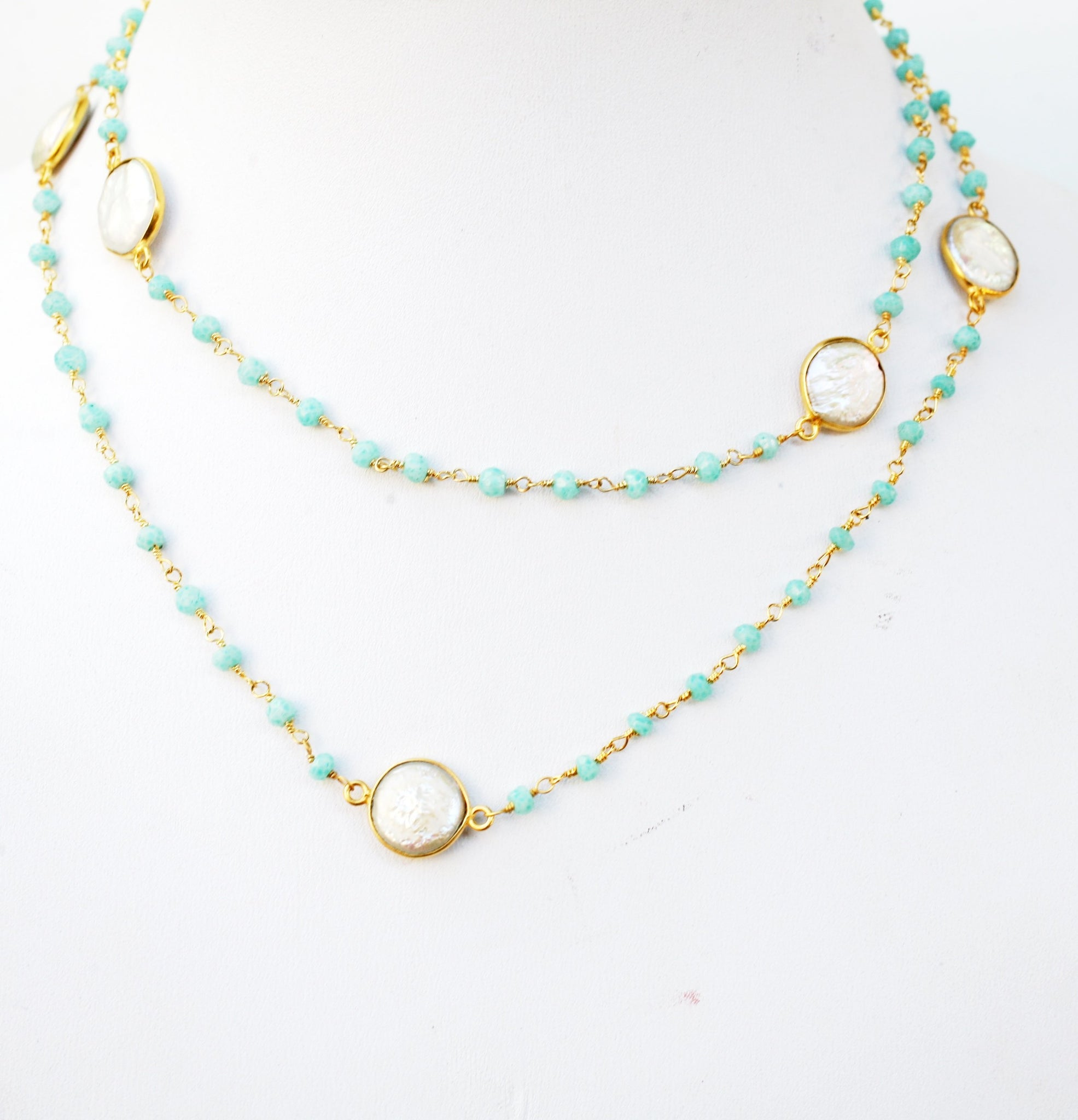 "Gem by the Yard ""30"" stylish necklace with 7 genuine dyed stations in between Gold field manipulated wire and faceted dyed beads"