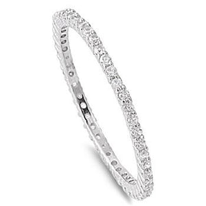 Zirconite Cubic Zirconia Sterling  silver fine Band Ring