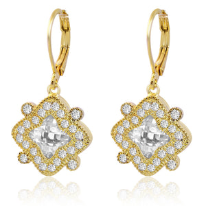 Electroplated four point star earrings with centered faceted crystal stone 681E4770