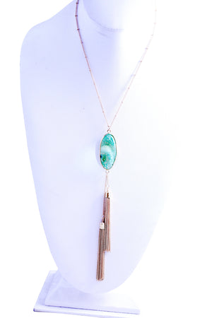 Bohemian necklace set featuring a colorful oval dyed stone and tassel pendant 687S6532