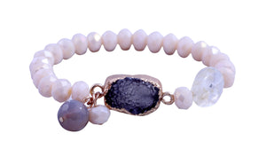 Semi precious faceted Rundel beads stretch bracelet with gold toned centered genuine druzy stone. 688B2234