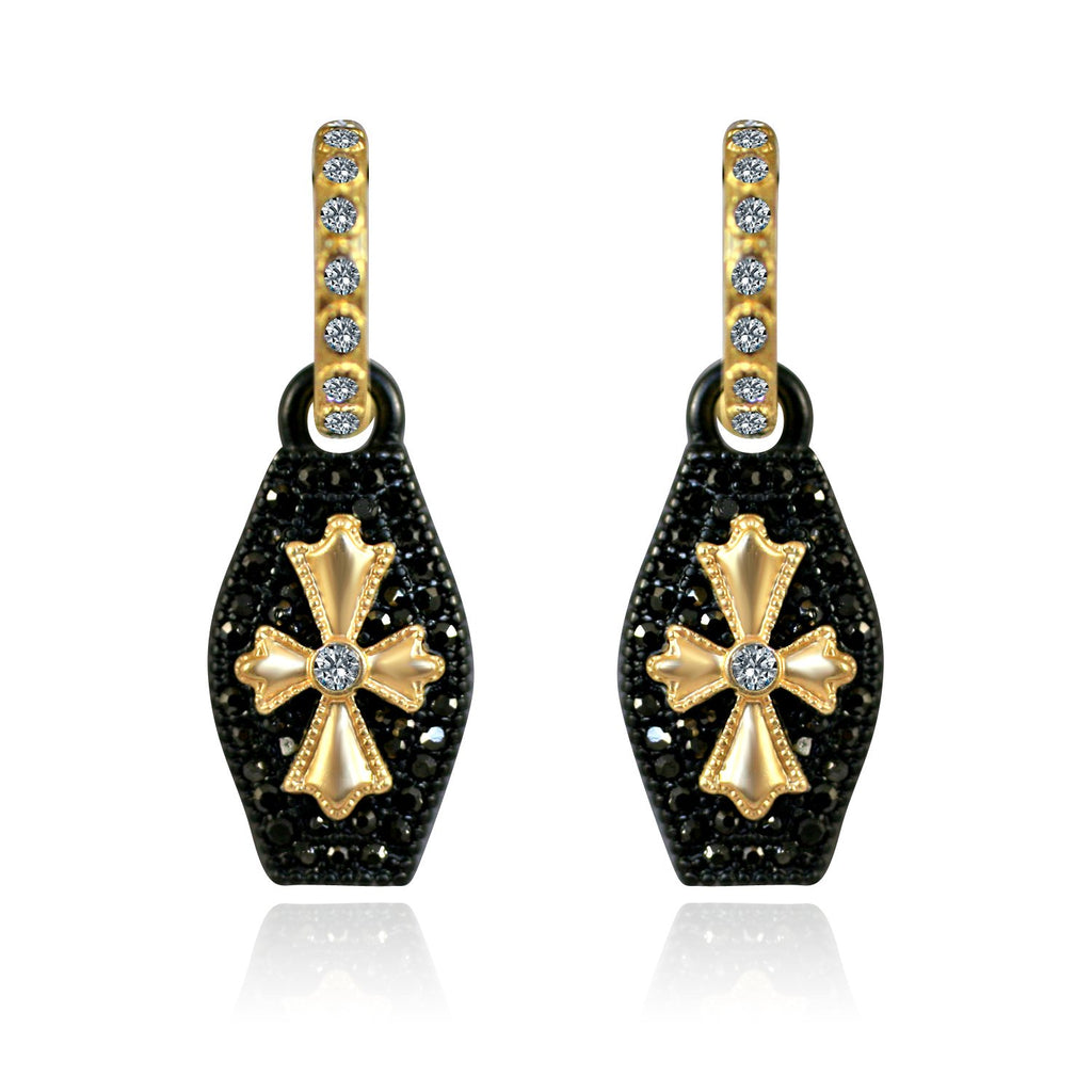 Black and Gold Earrings Paved with Black Diamond and Cubiz Zirconia in the Center